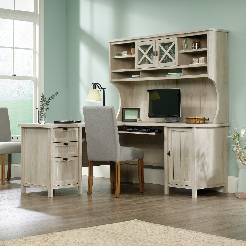 L Shaped Corner Computer Desk With Hutch Costa Rc Willey Furniture Store