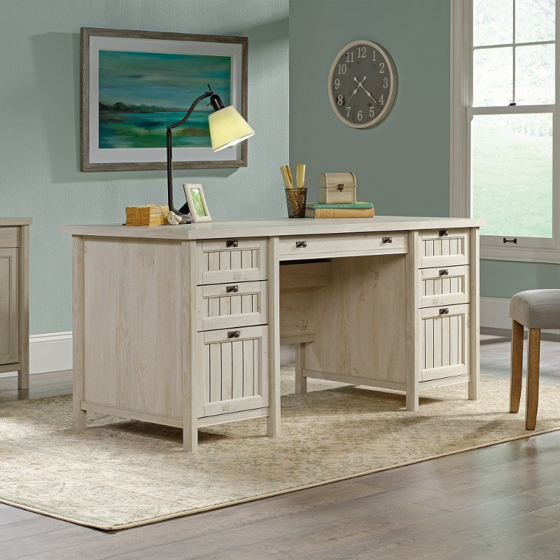 Delicieux Chalked Chestnut Beige Executive Office Desk   Costa