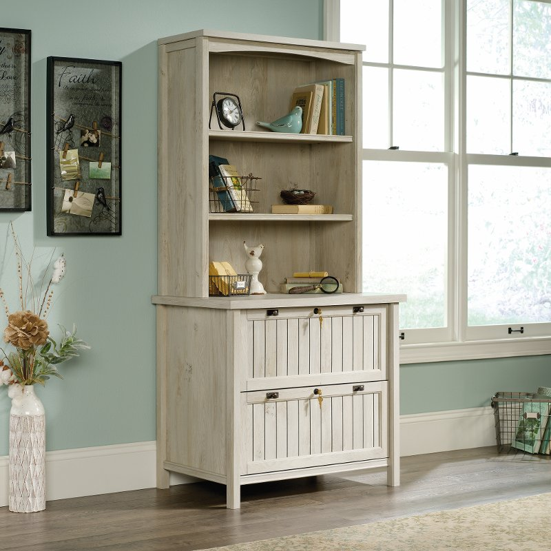 Antique White 2 Drawer Lateral File Cabinet with Hutch - Costa - Antique White 2 Drawer Lateral File Cabinet With Hutch - Costa RC