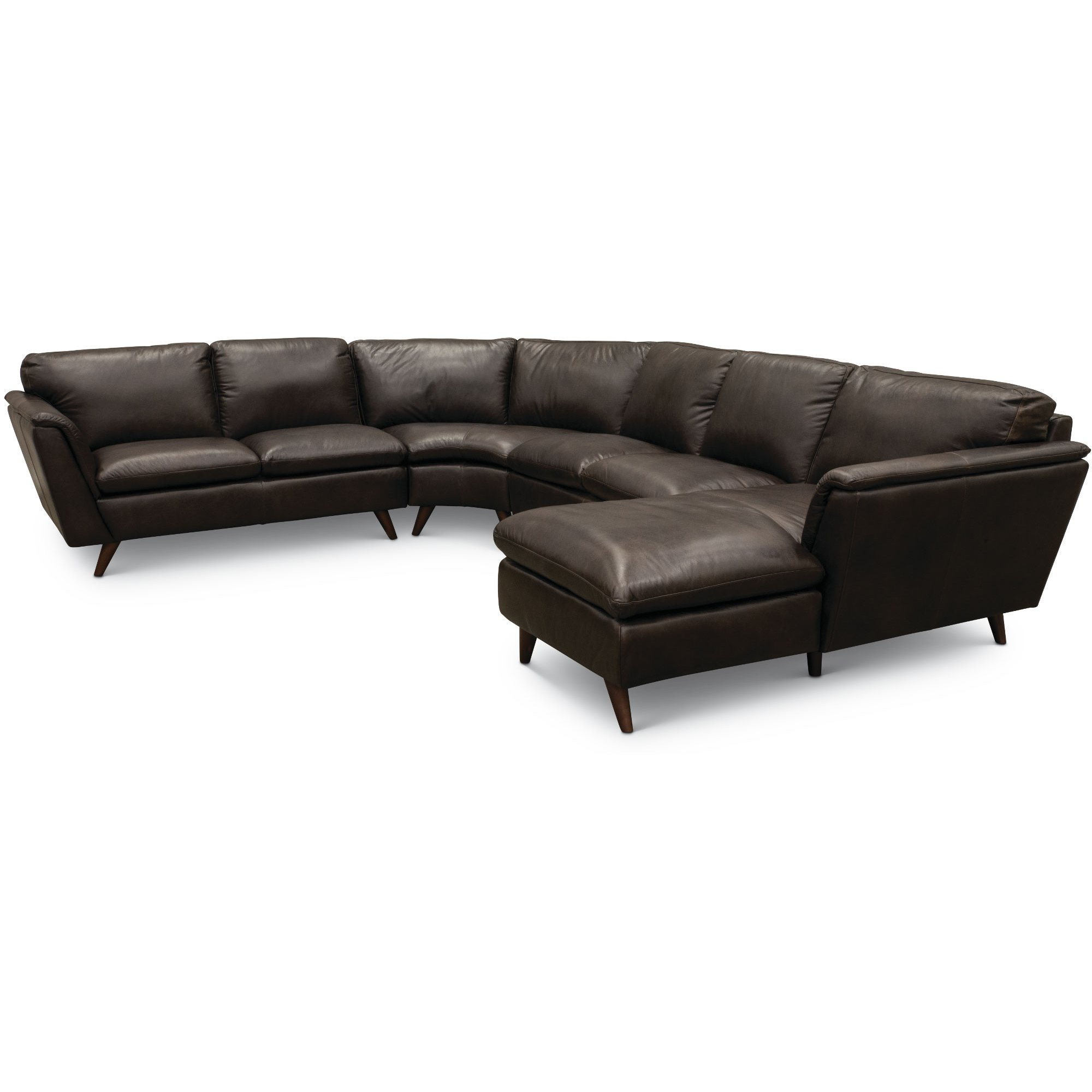 Brown Leather 4 Piece Sectional Sofa with RAF Chaise - Jeffrey | RC ...