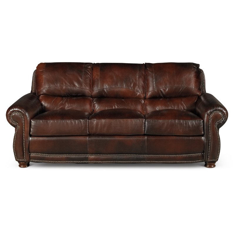 Charmant Classic Traditional Brown Leather Sofa   Amaretto