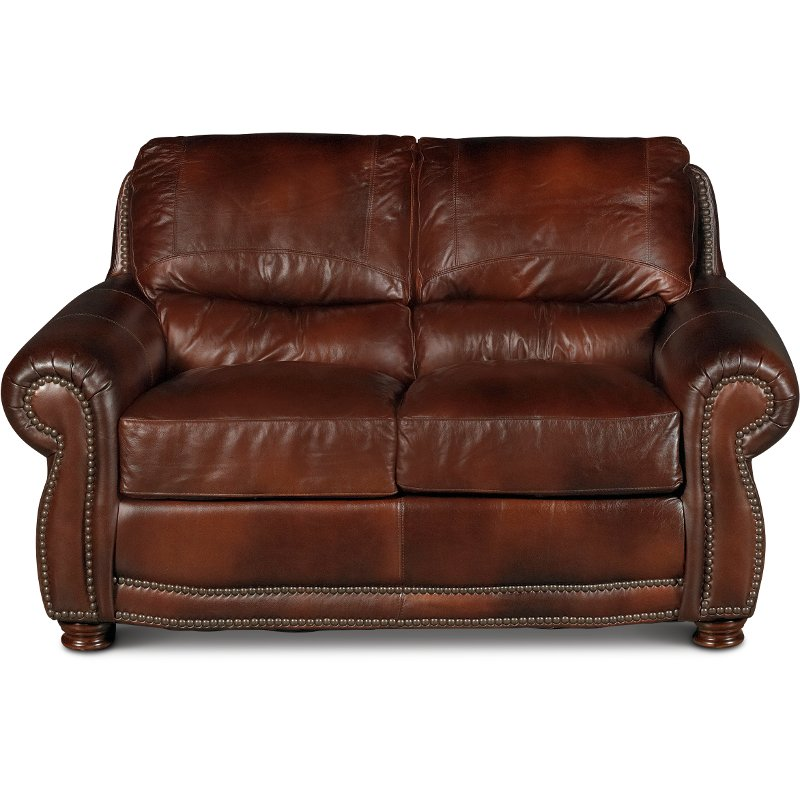 Terrific Classic Traditional Brown Leather Loveseat Amaretto Ncnpc Chair Design For Home Ncnpcorg