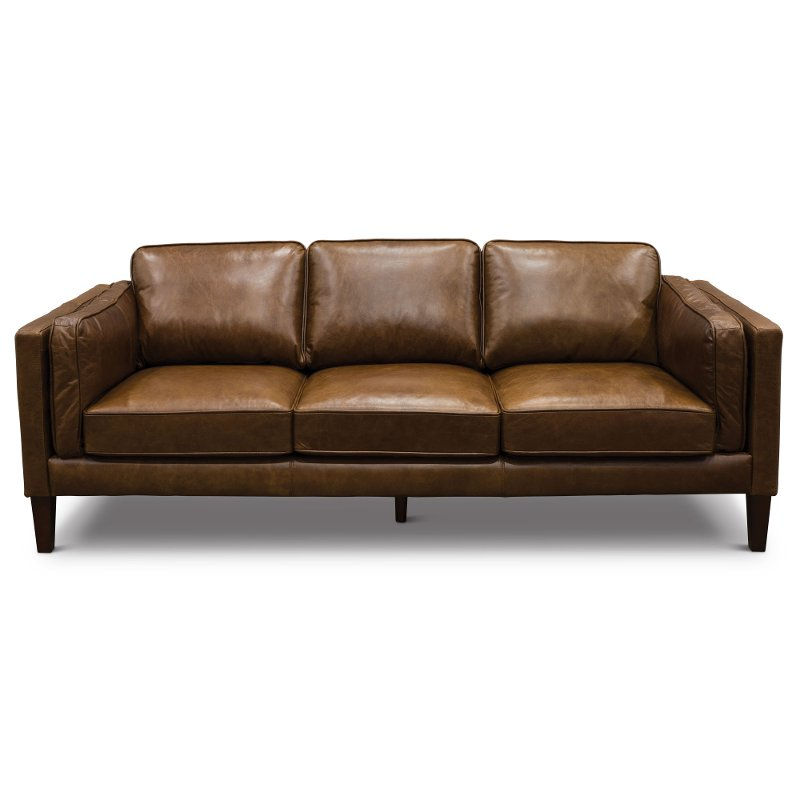 Mid Century Modern Brown Leather Sofa - Brompton | RC Willey ...