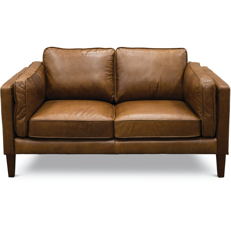 Mid Century Modern Brown Leather Loveseat - Brompton