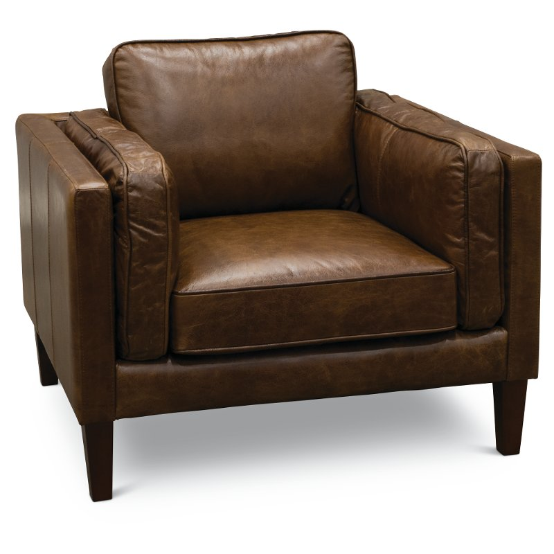 modern classic cocoa brown leather chair brompton rc willey