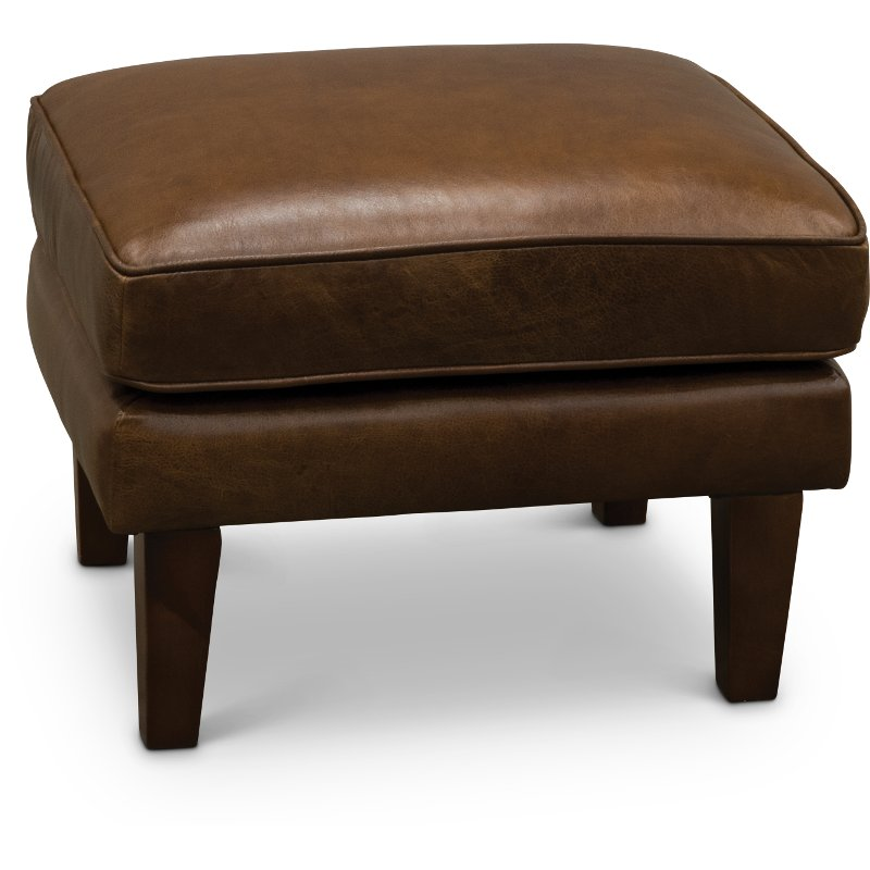 Wondrous Mid Century Modern Brown Leather Ottoman Brompton Ncnpc Chair Design For Home Ncnpcorg