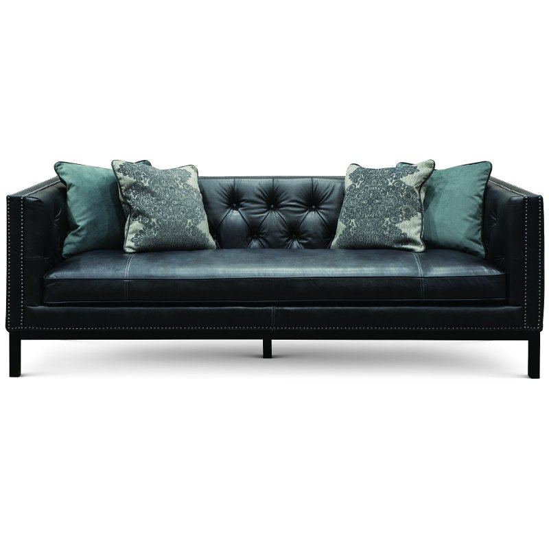 Mid-Century Modern Slate Black Leather Sofa