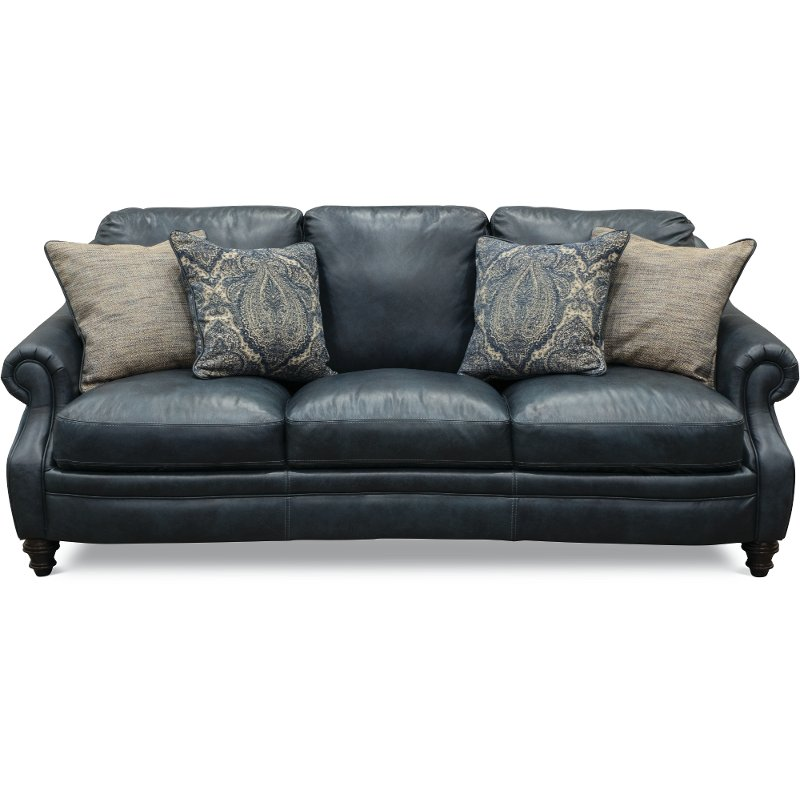 Classic traditional navy blue leather sofa admiral rc for Classic traditional furniture