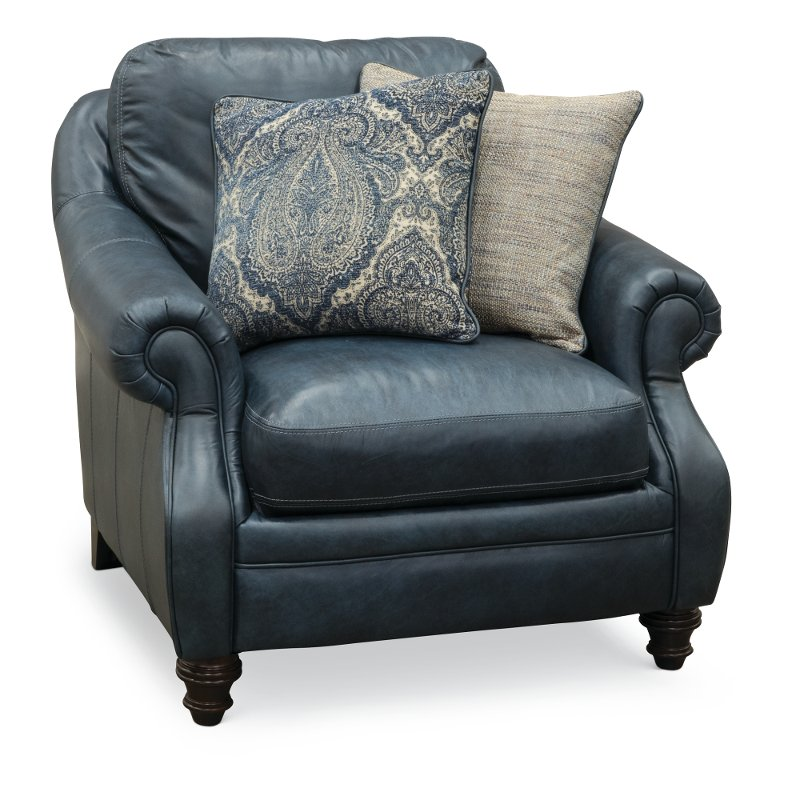 Charmant Classic Traditional Navy Blue Leather Chair   Admiral