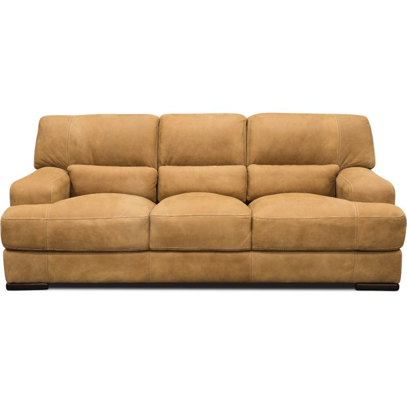 Casual Contemporary Palomino Brown Leather Sofa Stallone