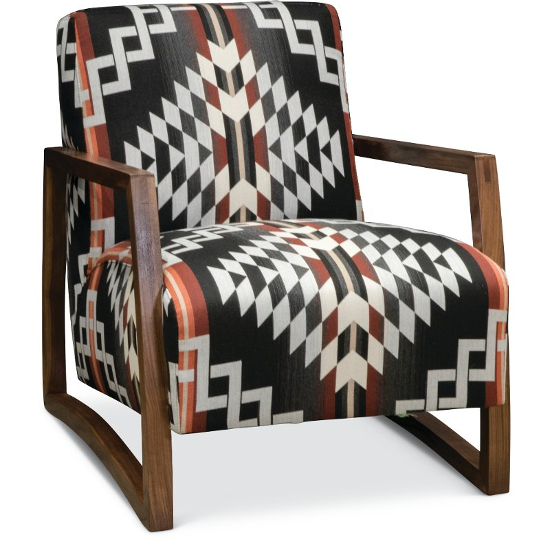 Good Southwest Modern Wood Chair With Pendleton By Sunbrella Fabric   Domino