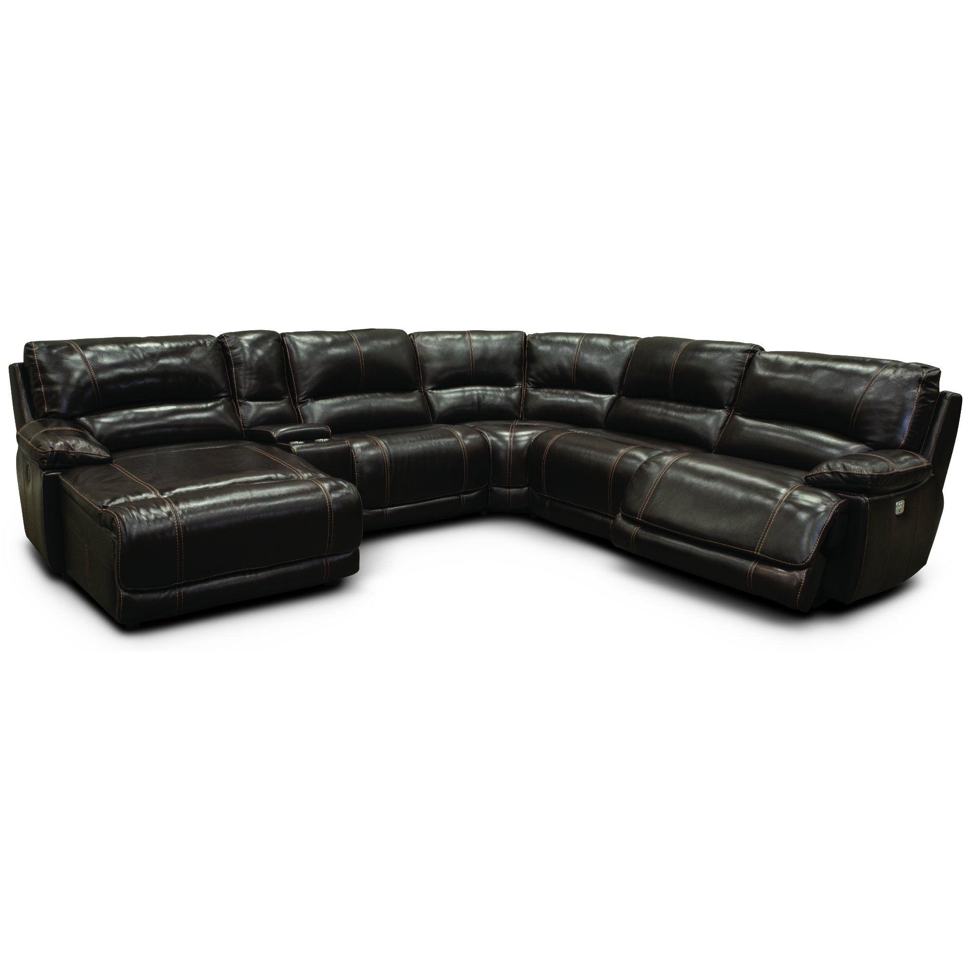 Brown Leather-Match Power Reclining Sectional Sofa - Brant | RC ...