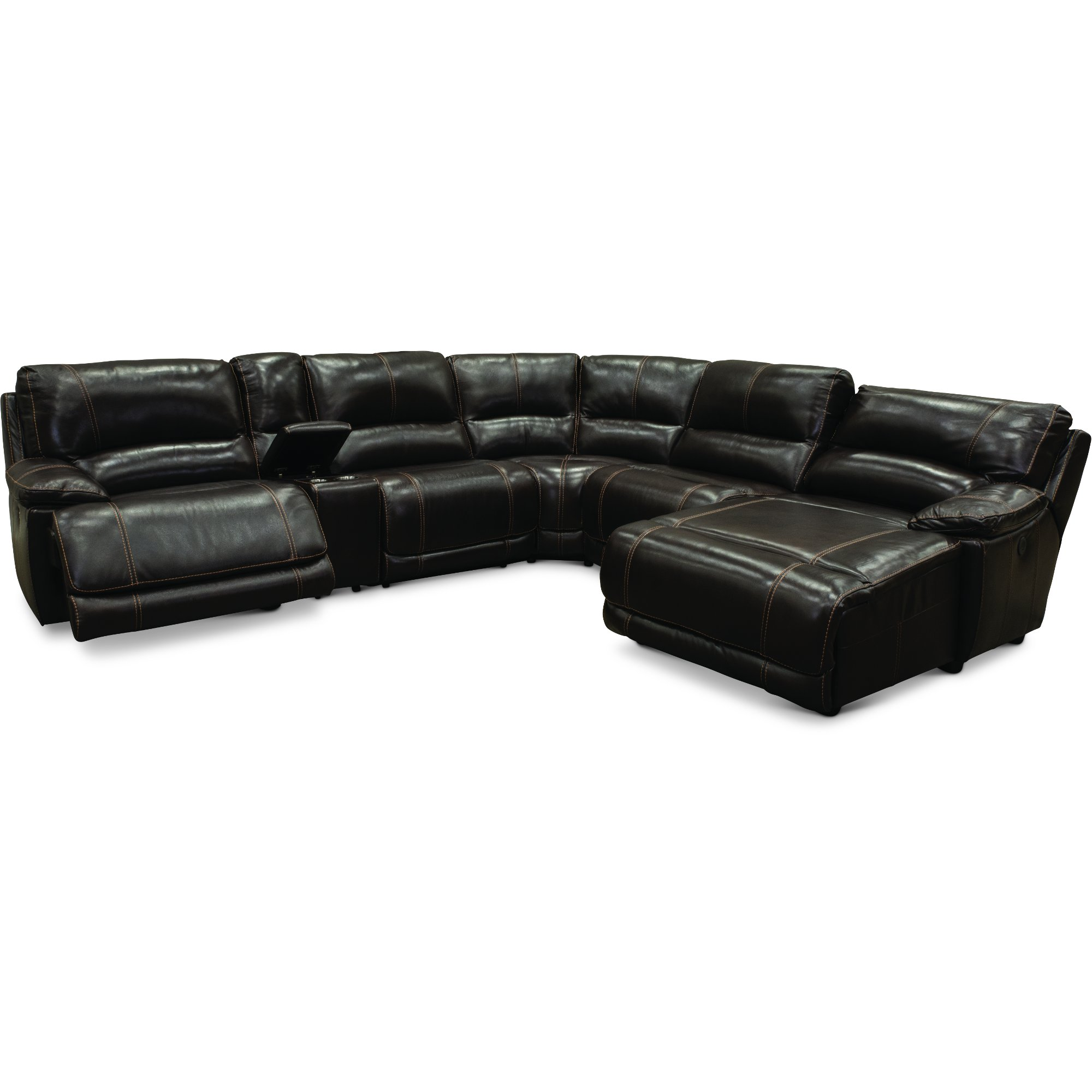 Brown Leather-Match Power Reclining Sectional Sofa - Brant