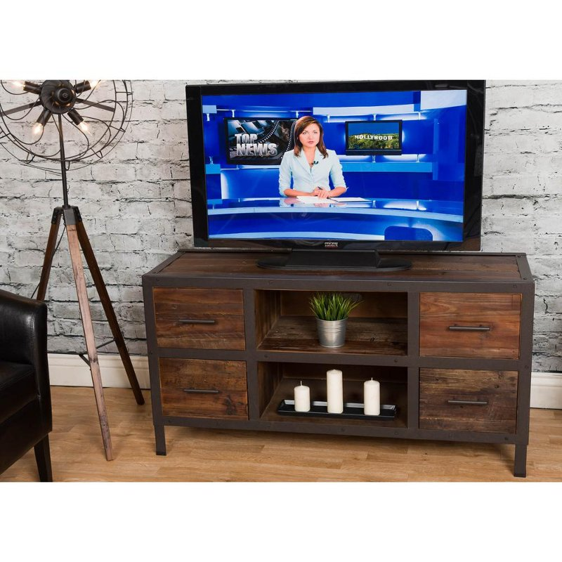 Rustic Brown Wooden 55 Inch Tv Stand Brixton Rc Willey Furniture
