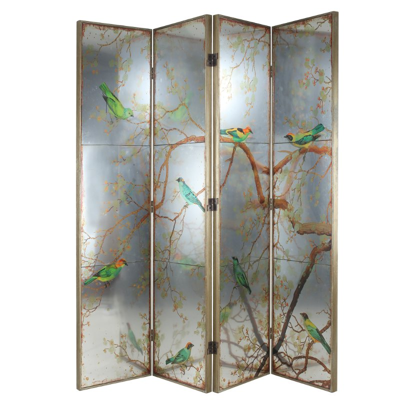 Antique Gold And Mirrored Bird 4 Panel Screen Room Divider