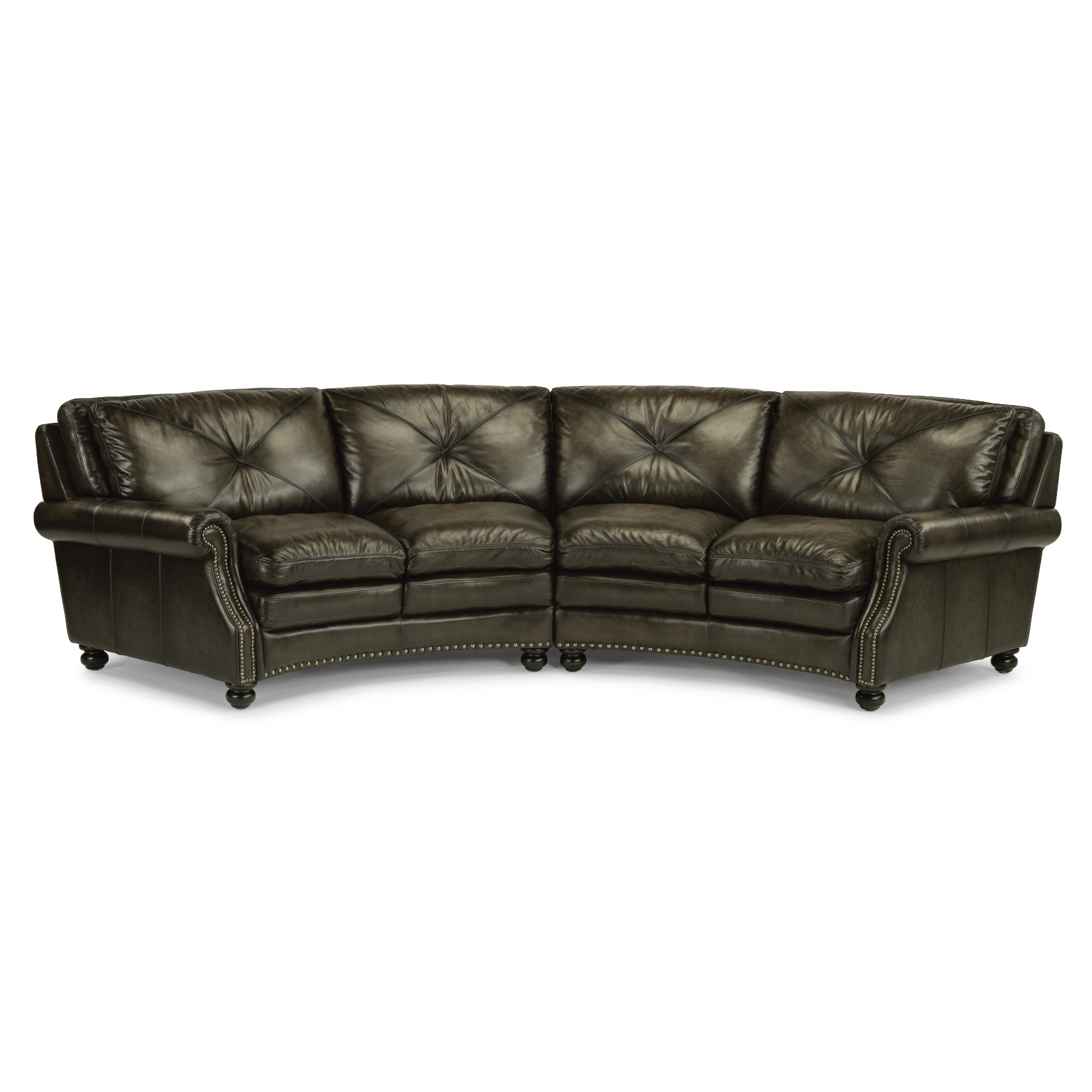 Classic Dark Gray Leather 2 Piece Sectional Sofa - Suffolk