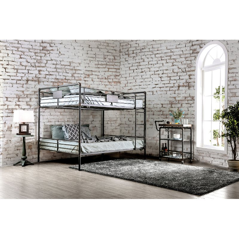 Black Metal Casual Industrial Queen Over Queen Bunk Bed Alexander