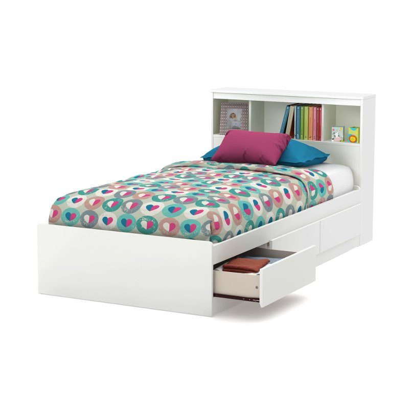 White Twin Mates Bed With Bookcase Headboard Reevo