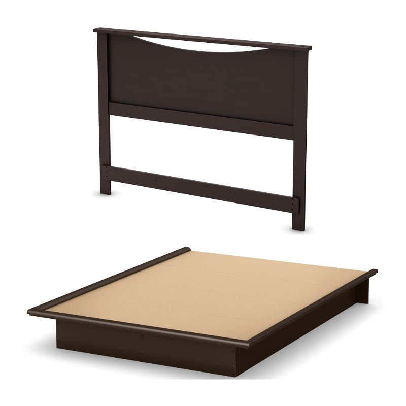 83036c59a55 Chocolate Queen Platform Bed with Headboard - Step One