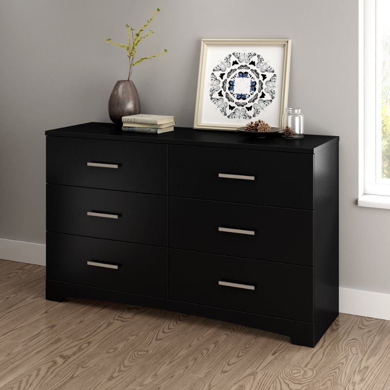 Pure Black 6 Drawer Double Dresser