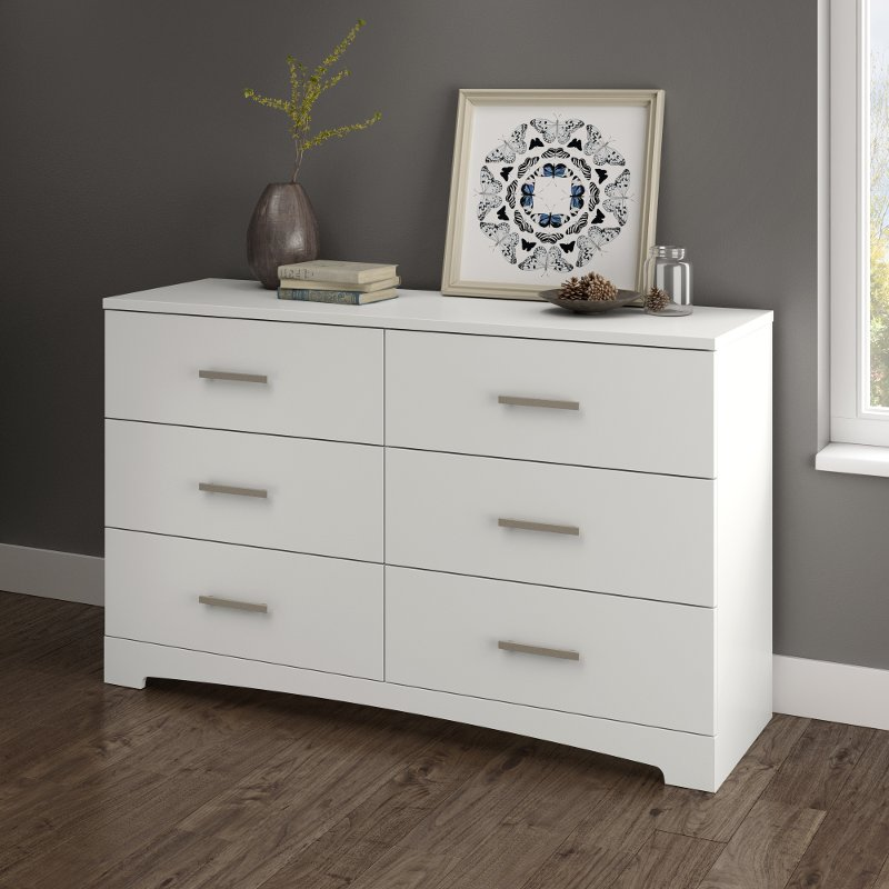 Pure White 6 Drawer Double Dresser Gramercy Rc Willey Furniture Store
