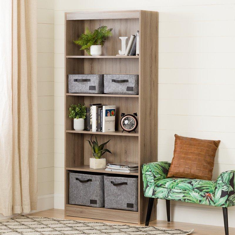 Five Shelf Rustic Oak Bookcase Axess Rc Willey Furniture Store
