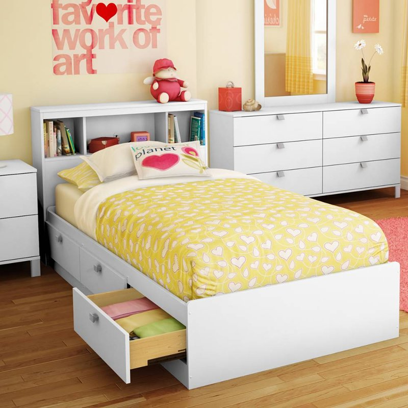 White Twin Storage Bed With 3 Drawers And Headboard