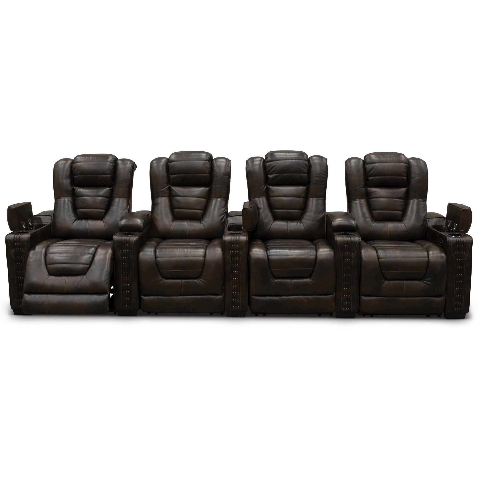 brown leather match 4 piece power home theater seating big chief
