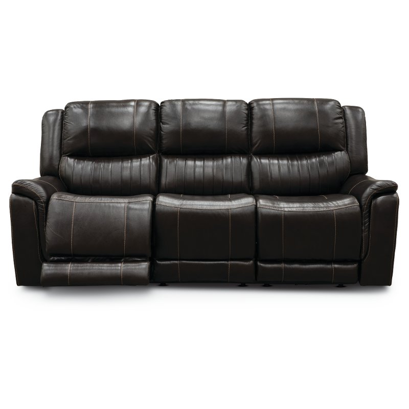Chocolate Brown Leather-Match Power Reclining Sofa - Hearst | RC ...