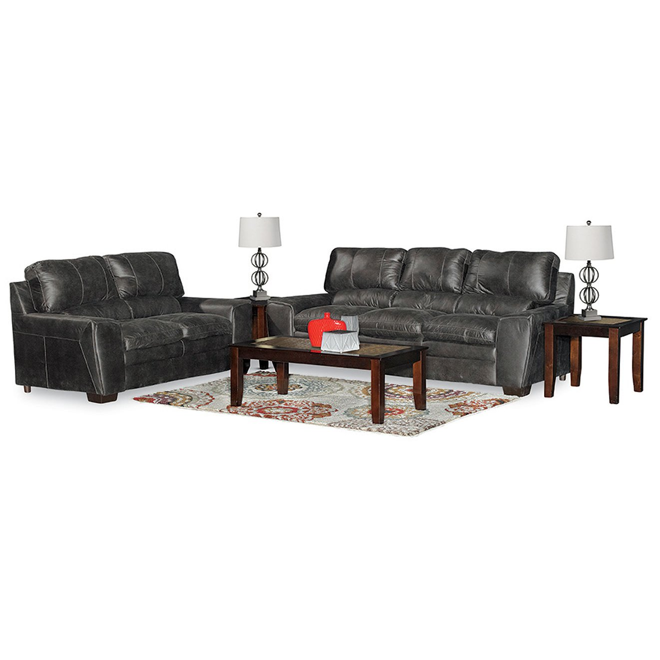 Casual Contemporary Gray 5 Piece Living Room Set