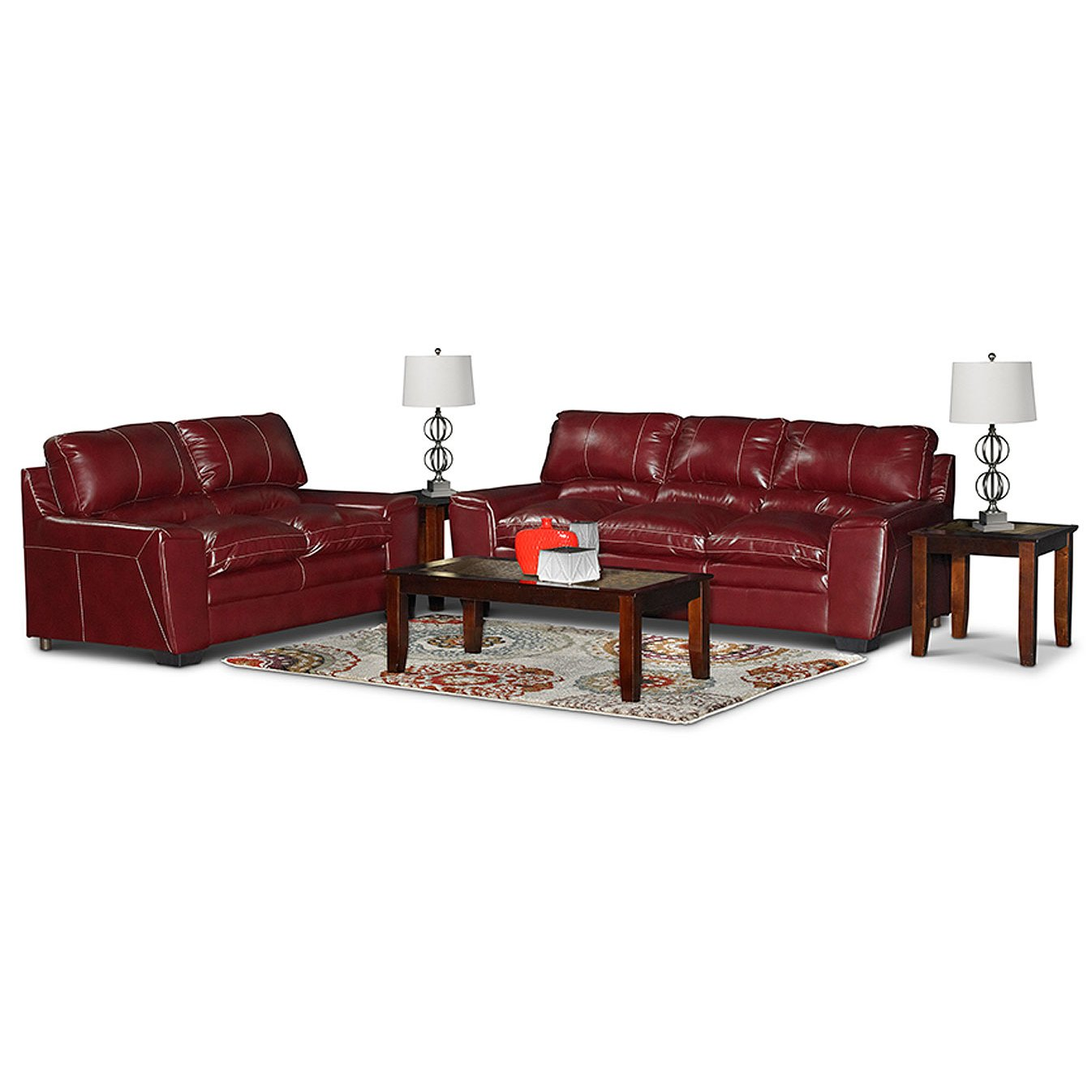 Casual Contemporary Red 5 Piece Living Room Set Caruso