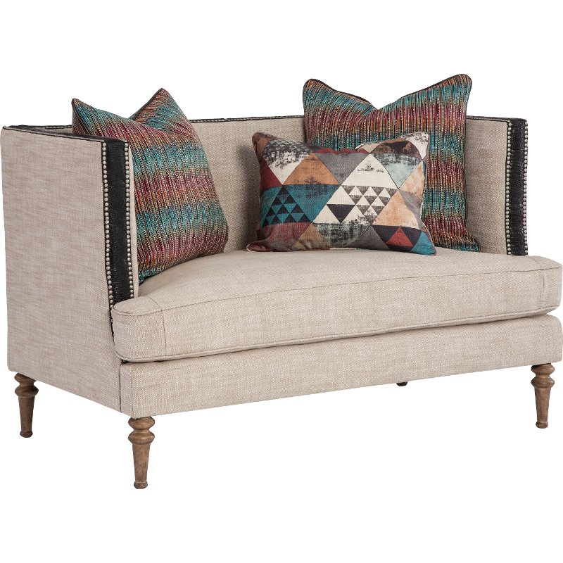 Belgian Beige Settee With Throw Pillows Joelle Rc