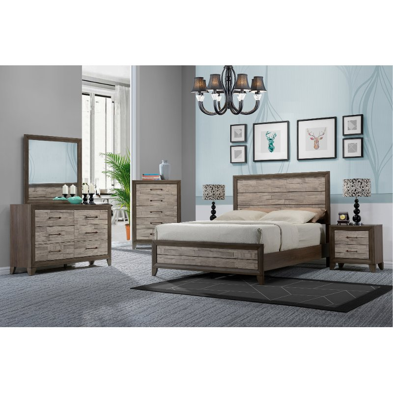 Contemporary Bedroom Furniture Stores: Contemporary Two-Tone Walnut 4 Piece Queen Bedroom Set