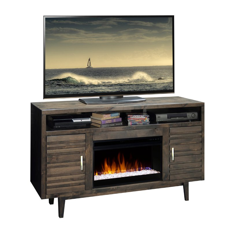 61 Inch Rustic Charcoal Brown Tv Stand Fireplace Avondale Rc