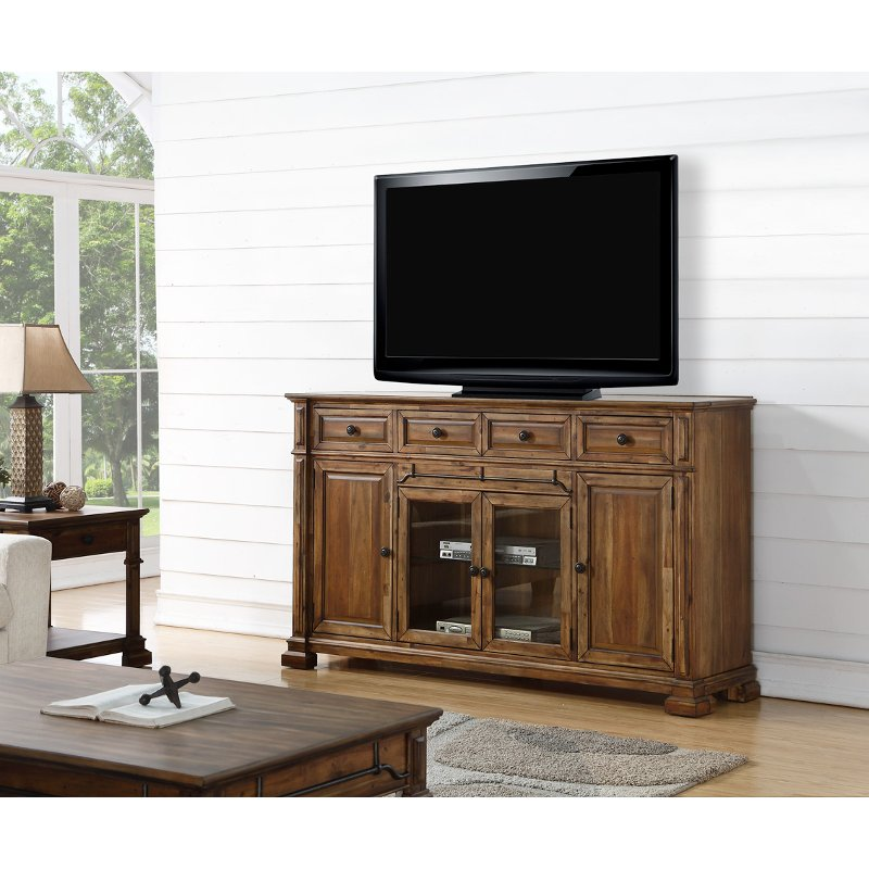 low priced ebb4e 3f41d 75 Inch Rustic Brown TV Stand - Barclay