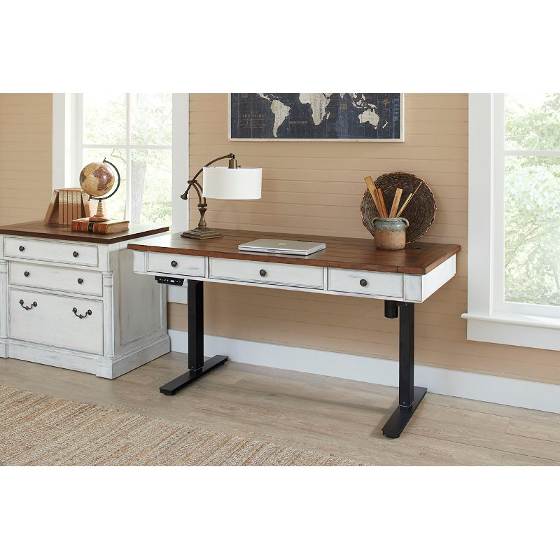 Prime Cherry Brown And White Sit And Stand Desk Durham Beutiful Home Inspiration Truamahrainfo