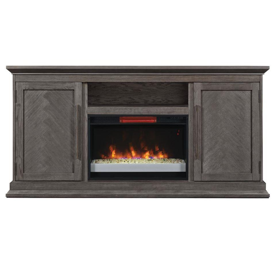 68 Inch Modern Brown Tv Stand And Fireplace Ridgefield Rc Willey