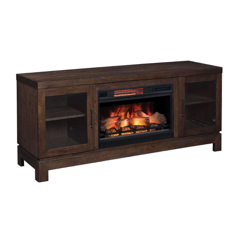 63 Inch Antique Coffee Brown TV Stand And Fireplace   Berkeley