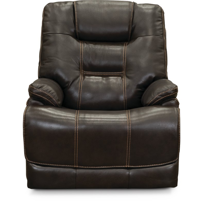 Walnut Brown Leather Match Lay Flat Power Recliner   Bonanza | RC Willey  Furniture Store