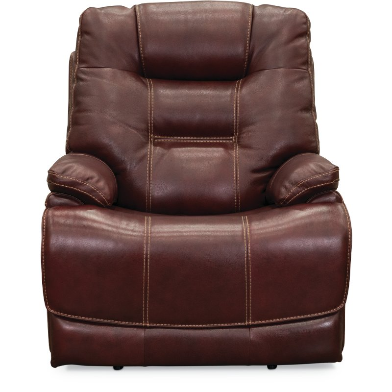 Ruby Red Leather Match Lay Flat Power Recliner Bonanza