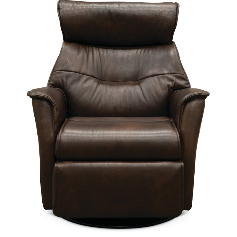 Truffle Brown Large Leather Swivel Glider Power Recliner