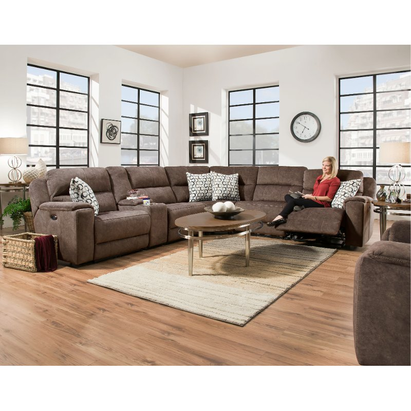Coco Brown 6 Piece Power Reclining Sectional Sofa   Imprint