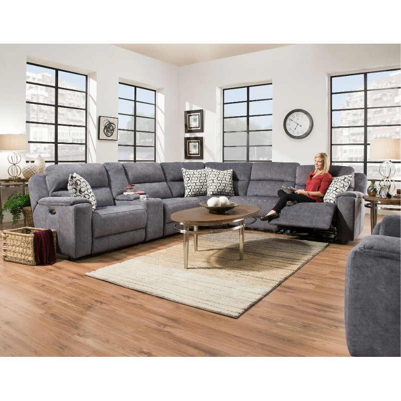 Blue 6 Piece Power Reclining Sectional Sofa - Imprint | RC Willey ...