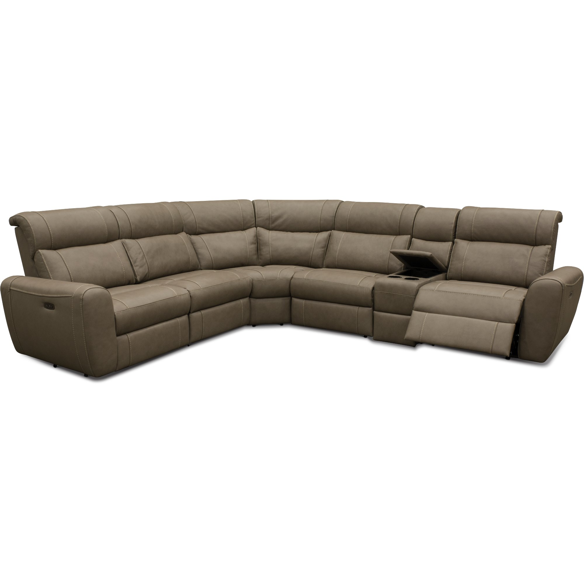 Admirable Taupe Leather Match 6 Piece Power Sectional Sofa Robert Bralicious Painted Fabric Chair Ideas Braliciousco