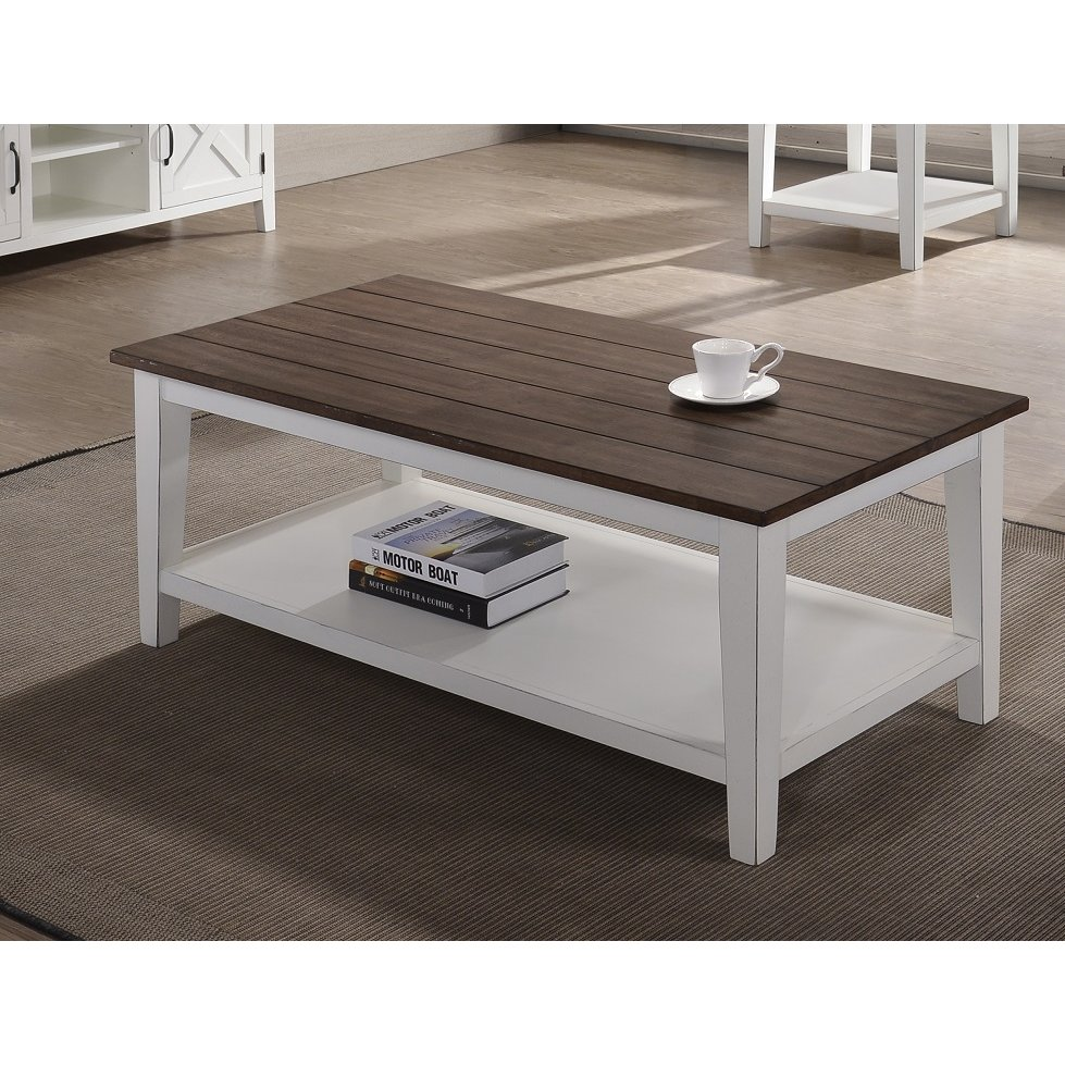 Farmhouse White And Brown Coffee Table Rc Willey