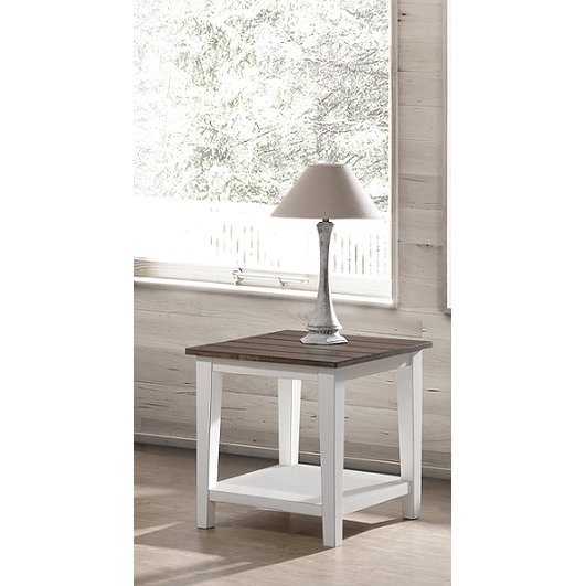Farmhouse White And Brown End Table Rc Willey Furniture Store