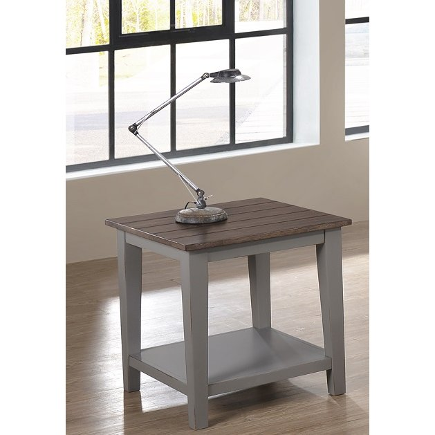 Willey Furniture Las Vegas: Farmhouse Gray And Brown End Table