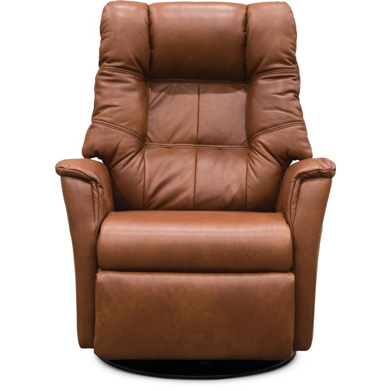 Nutmeg Brown Leather Large Swivel Glider Power Recliner Relaxer