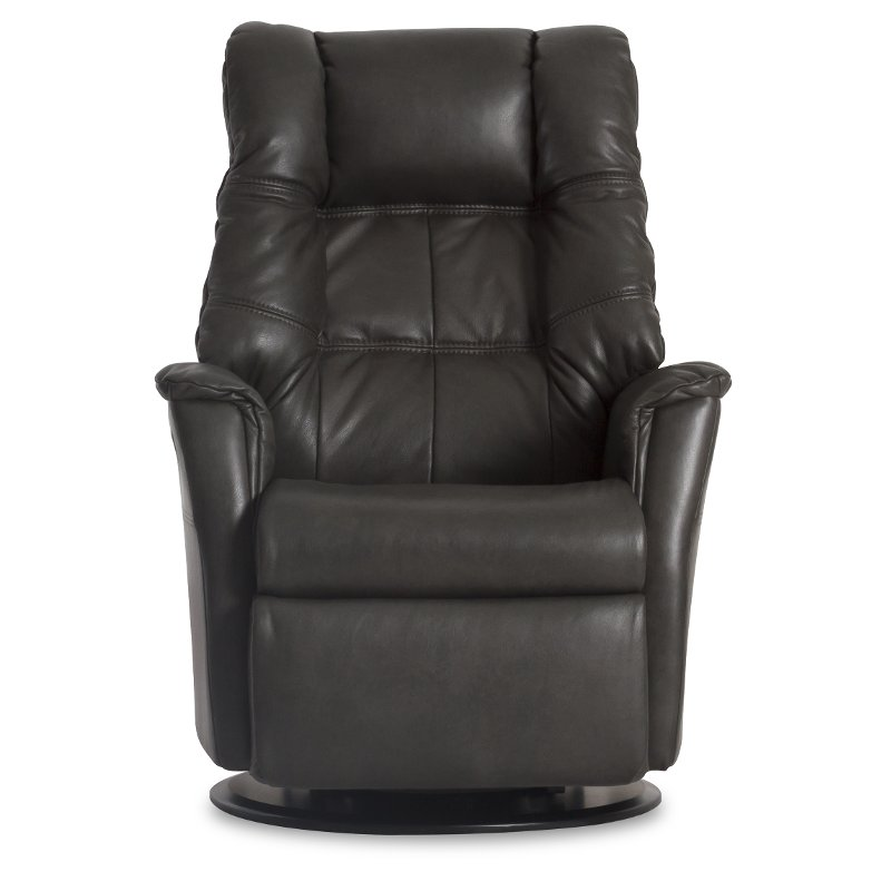 Anthracite Gray Leather Standard Swivel Glider Power