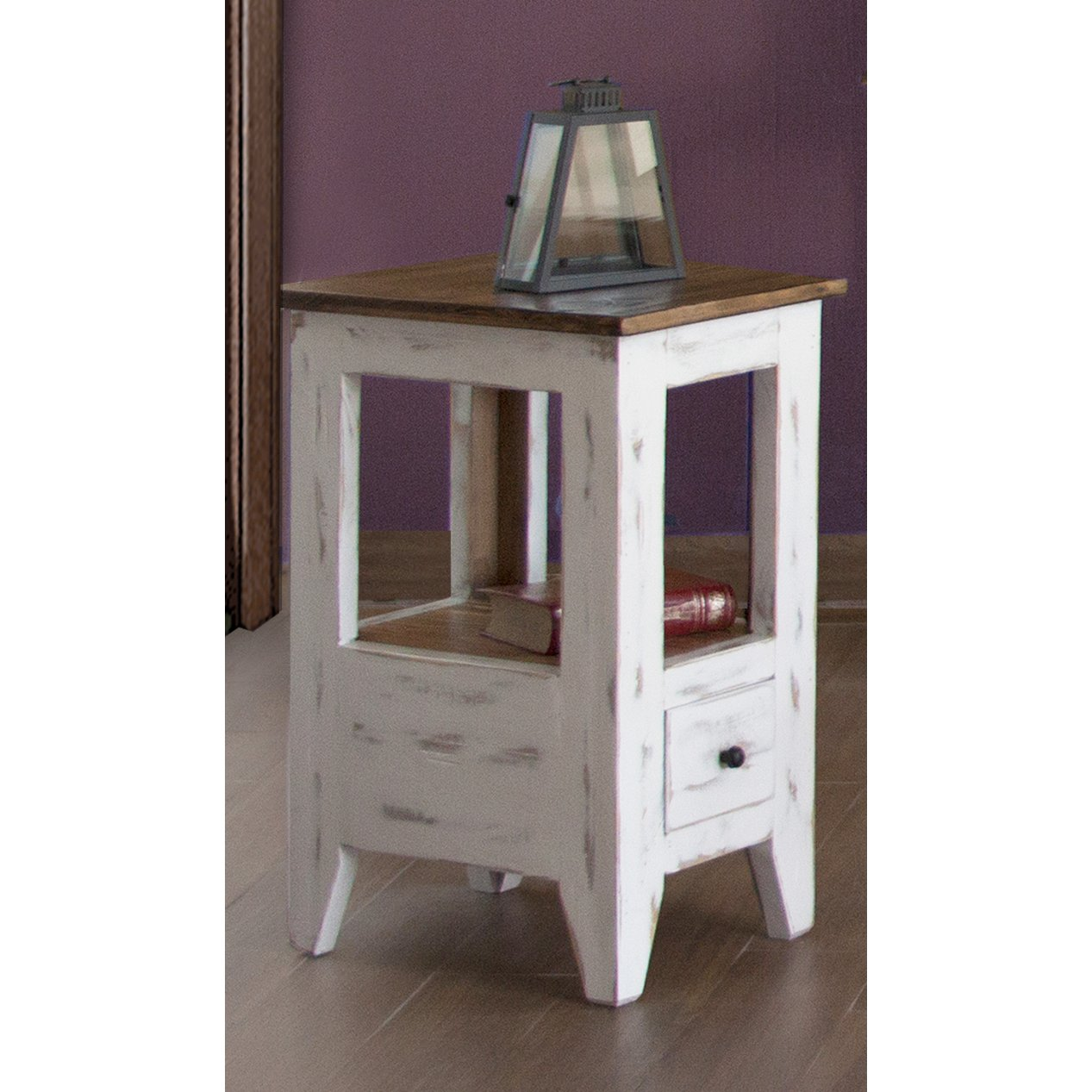 Rc Willey Salt Lake: Distressed White And Brown Chair Side Table